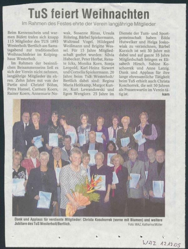 Pressebericht der WAZ vom 12. Dezember 2005
