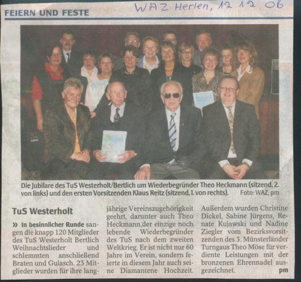 Pressebericht der WAZ vom 12. Dezember 2006