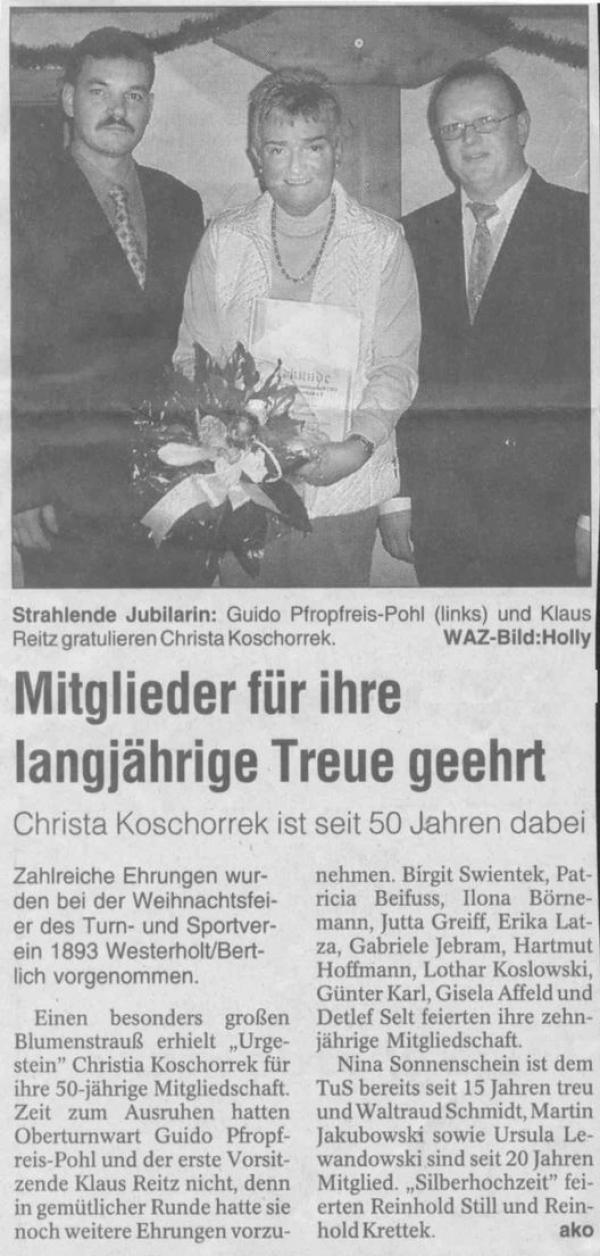 Pressebericht der WAZ vom 16. Dezember 2003